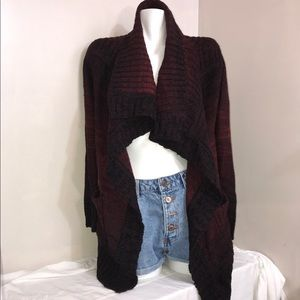 Denver Hayes Burgundy Open Cardigan Long Sweater